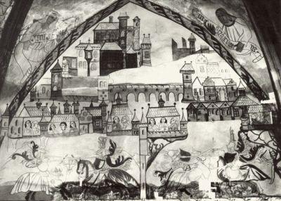 Kamenný most na fresce Turnaje v píseckém hradě z roku 1479